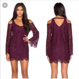 CHASER lace cold shoulder bell sleeve dress